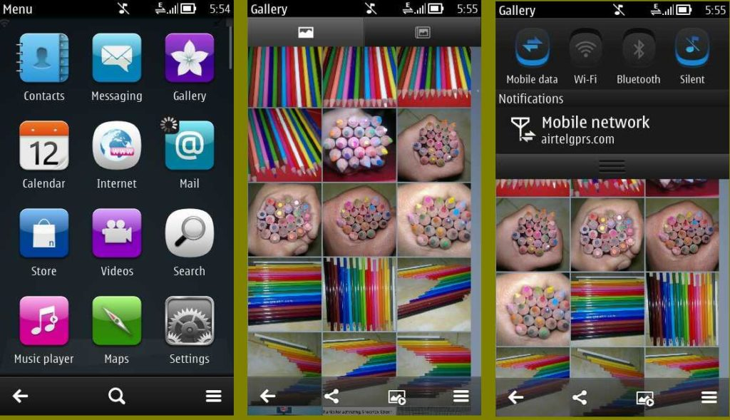 Symbian Belle menu,Gallery,Pull down menu