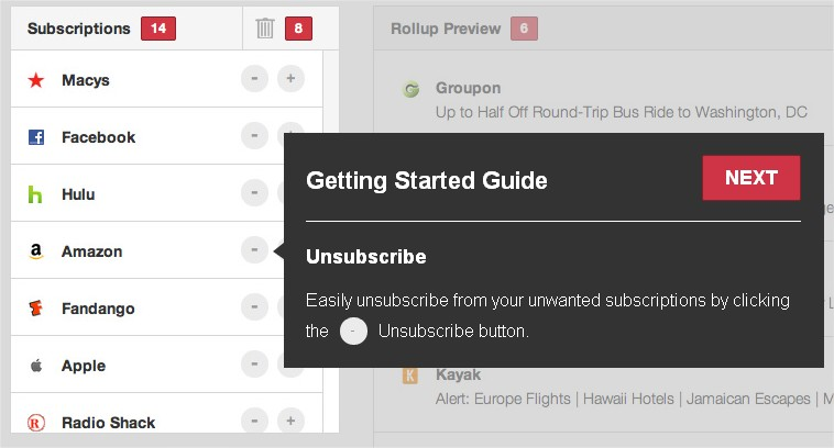 Unroll.me Subscribe list