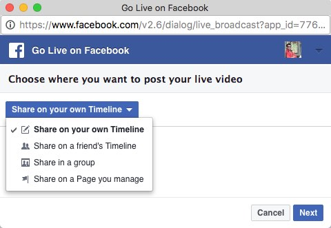 Option to select live broadcast facebook