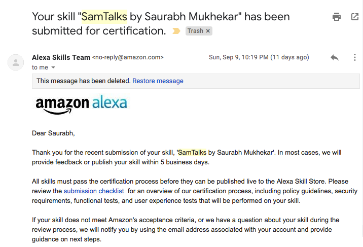 Your skill _SamTalks by Saurabh Mukhekar_ has been submitted for certification. - Amazon Alexa