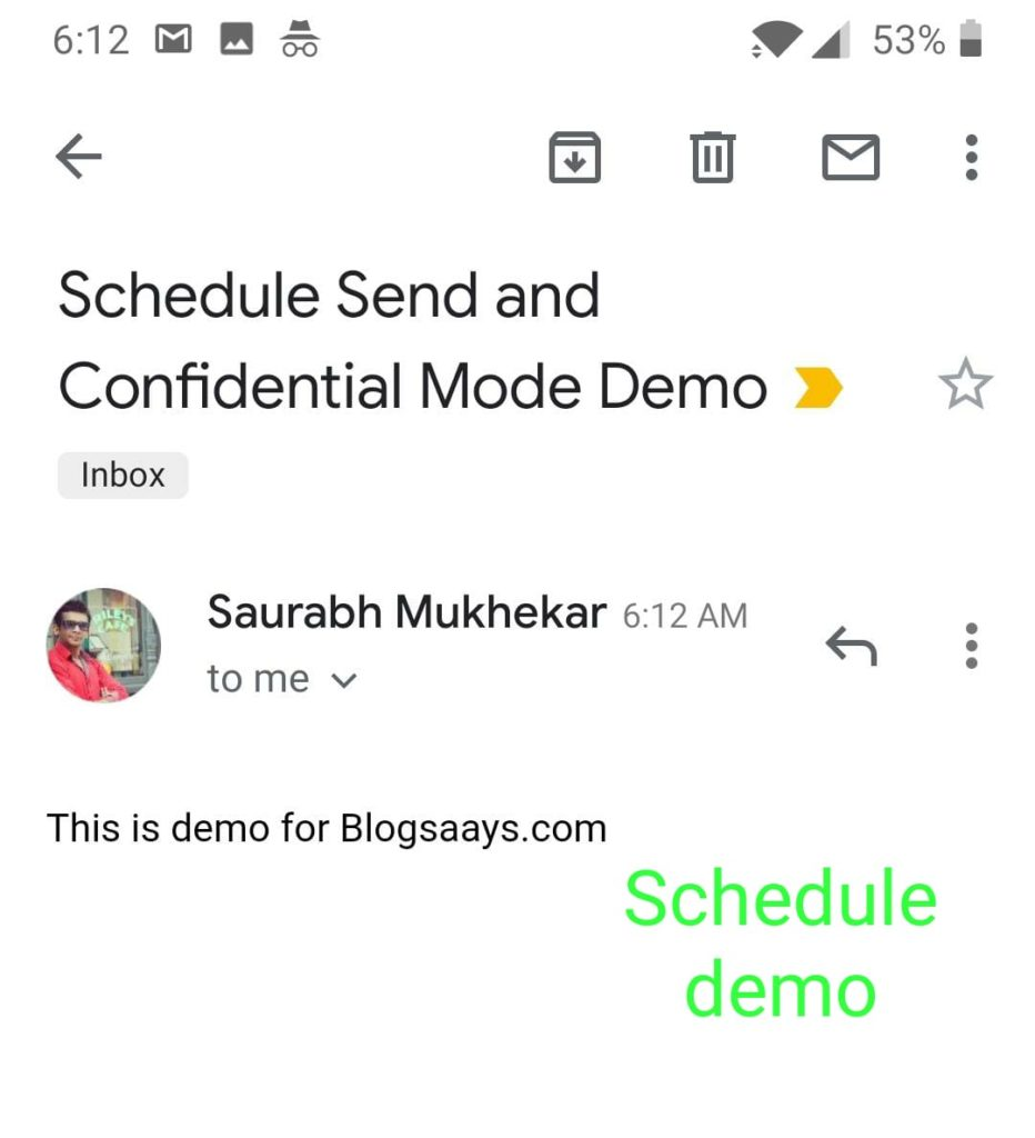 Gmail Email Scheduling-sent email