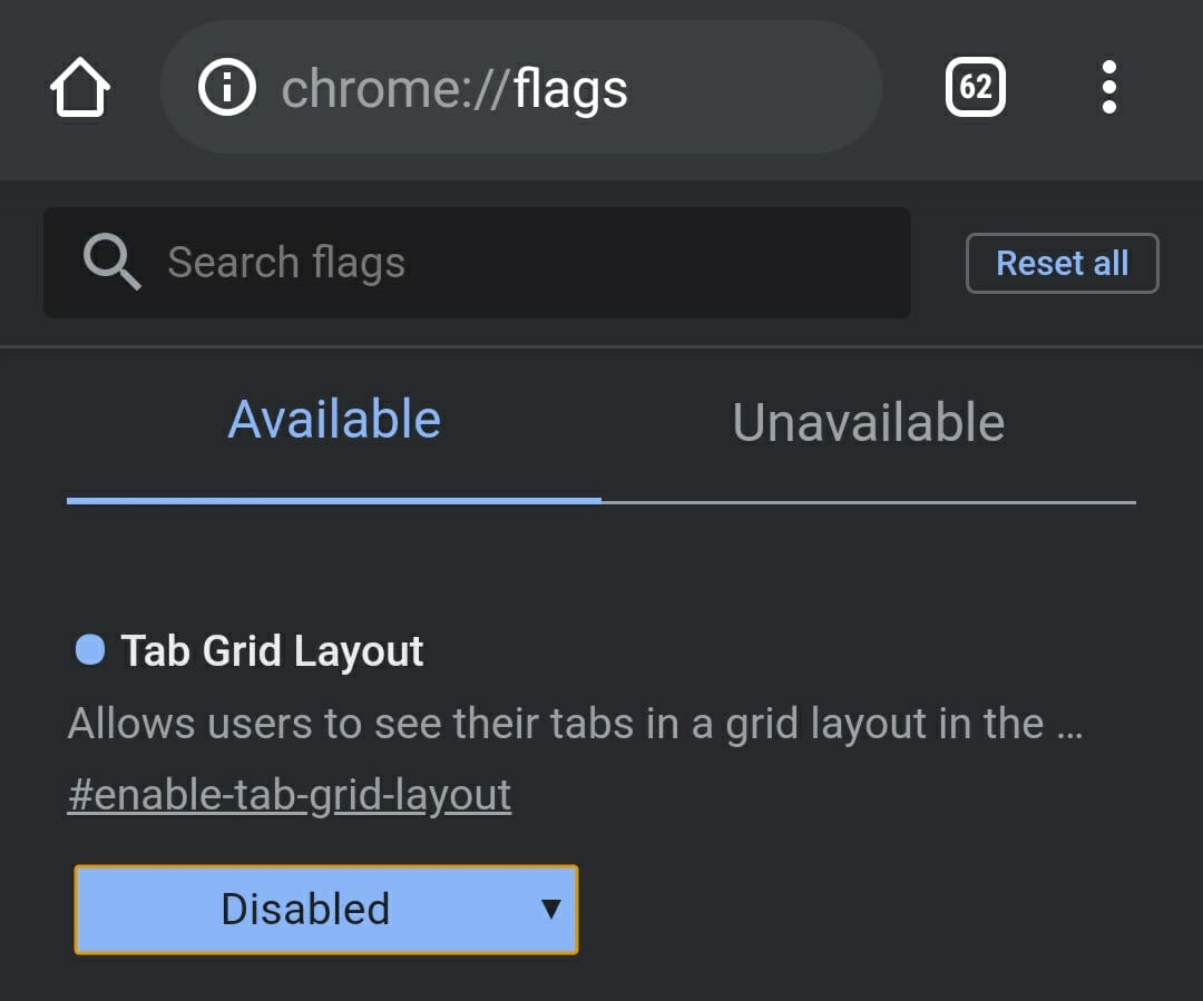 Chrome Mobile Tab Layout Settings
